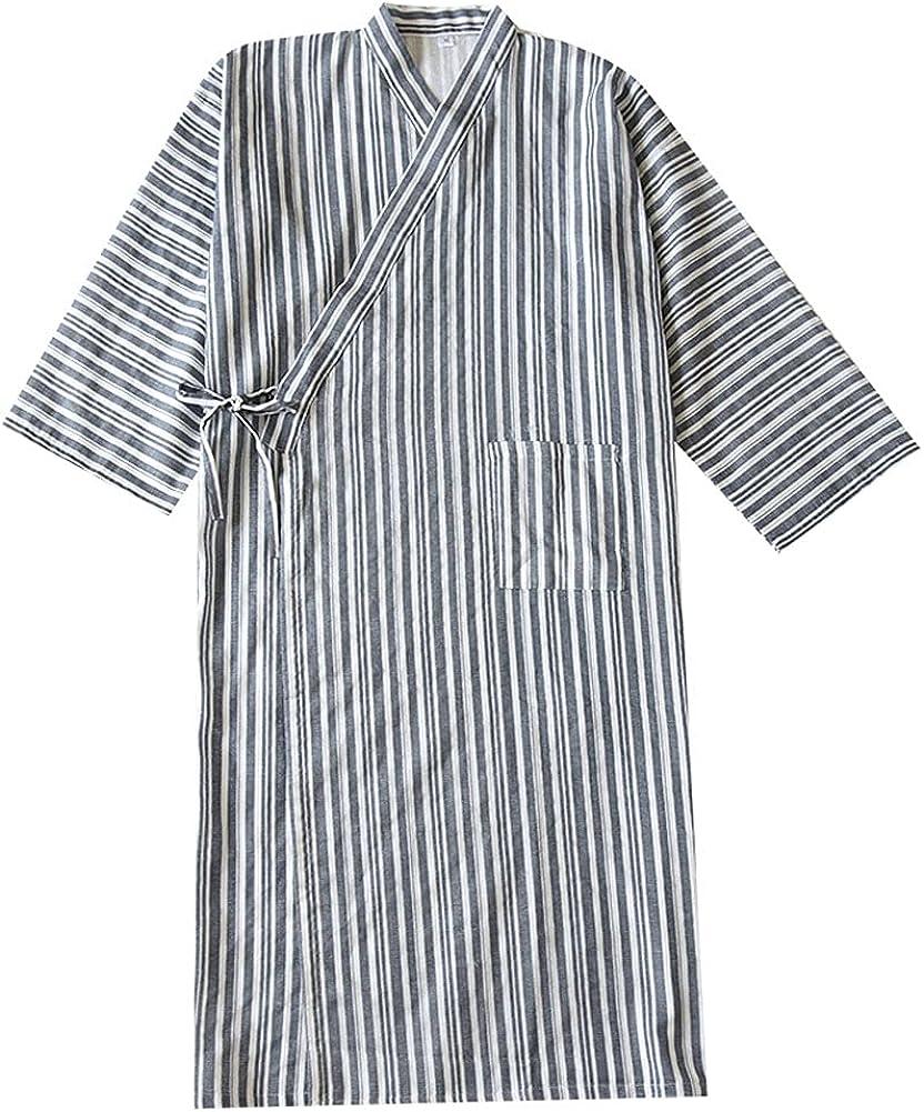 Men's Japanese Style Robes Pure Cotton Kimono Robe Bathrobe Pajamas #08