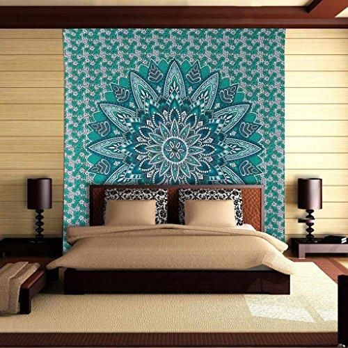 Mandala verde tapiz de la reina del algodón imprimió a banda colgar de la pared