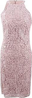 nightway sequined lace halter dress