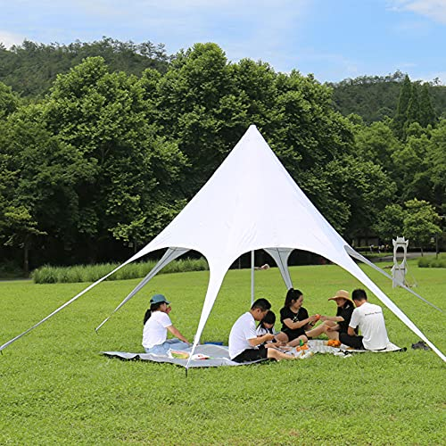 0℃ Outdoor Tienda de Campaña Tarp, Toldo Camping Impermeable 10m×10m Rain Tarp UV Protección Lona para Acampar, Toldo de Refugio Impermeable de Duradero Portatil para Picnic Pesca Camping