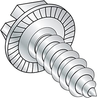 """Steel Sheet Metal Screw, Zinc Plated, Serrated Hex Washer Head, Slotted Drive, Type AB, 1/4""""-14 Thread Size, 5/8"""" Length (..."""