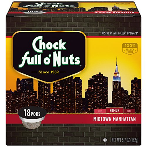 Chock Full o'Nuts Midtown Manhattan MediumRoast, K-Cup Compatible Pods (18 Count) - 100% Premium Arabica Coffee in Eco-Friendly Keurig-Compatible Single Serve Cups