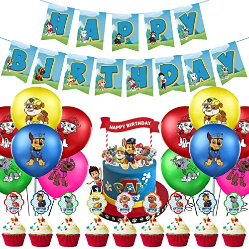 INTVN 39 PC Paw Dog Patrol Birthday Party Foil Balloons, Banner, Cake Topper,Paw Dog Patrol Foil Balloons for Kids Gift Fiesta de cumpleaños Suministros Decoración