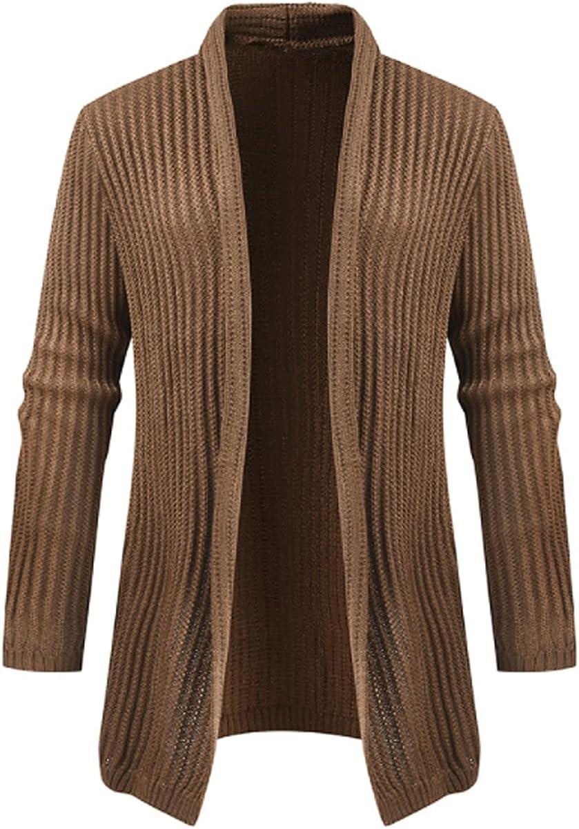 Mens Shawl Collar Long Cardigan Knit Ruffle Fashion Sweater Drape Cape