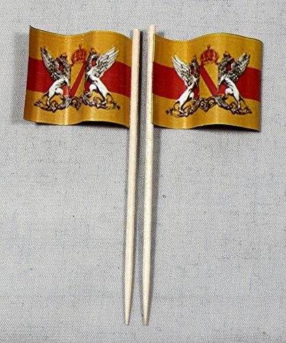 Buddel-Bini Party-Picker Flagge Baden Papierfähnchen in Profiqualität 50 Stück 8 cm Offsetdruck Riesenauswahl aus eigener Herstellung