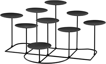 smtyle DIY 9 Battery Operated Candles Candelabra Decorative Black Iron Pillar Candle Holders For Fireplace Decoration or Desk
