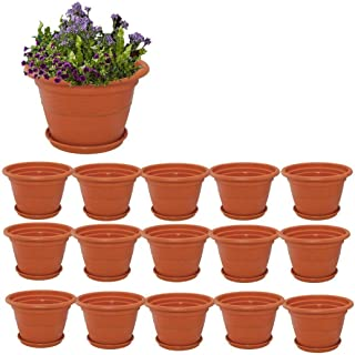 Spylark Heavy Duty Plastic Planter Pots with Bottom Tray Color Terracotta (18 Inch) Pack of 15