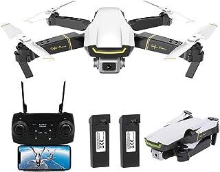 Goolsky Global Drone GW89 RC Drone Drone x procon Cámara 1080P WiFi FPV Foldable Controles Remotos Plegable RC Selfie Quadcopter para Niños Principiantes Entrenamiento (Blanco 2 Batería)