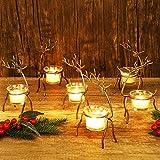 "Lulu Home Set of 6 Metal Reindeer Tea Light Candle Holders, 6.7"" H Christmas Candle Holders, Christmas Reindeer Decoration for Table, Mantel, Window Sill Holiday, Wedding, Housewarming"