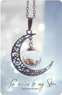 Collana del globo di luna. Pendente della bottiglia di vetro, Luna collana, collana di bronzo, bottiglia mignon, pendente ...