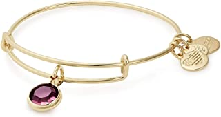 Alex and Ani Women's Swarovski Color Code Bangle February Amethyst Bracelet, Shiny Gold, Expandable (A19EB41SG)