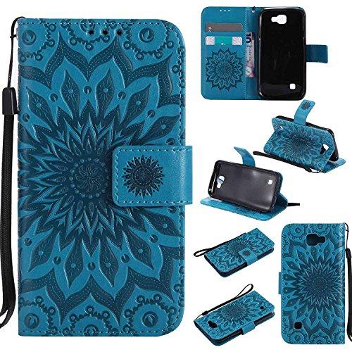 pinlu® PU Leder Tasche Etui Schutzhülle für LG K3 3G K100 (4,5 Zoll) Lederhülle Schale Flip Cover Tasche mit Standfunktion Sonnenblume Muster Hülle (Blau)