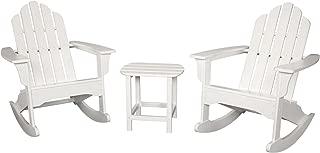 Hanover Outdoor Furniture 3 Piece All Weather Contoured Adirondack Rocking Patio Set, White