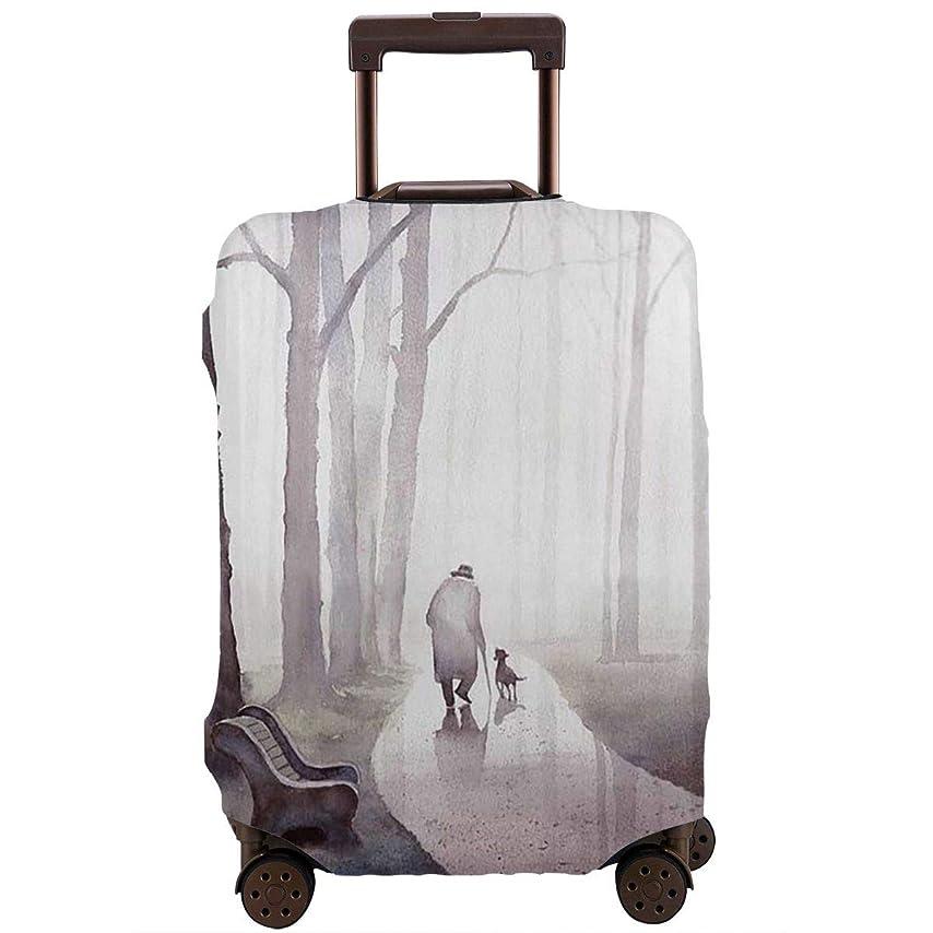 進化西部議会レッドカラー スーツケースカバー ラゲッジカバー キャリーカバー 人と犬 防塵カバー トランクカバー 旅行用品 トラベルダストカバー