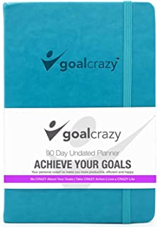 $24 » Goal Crazy Undated Planner - 90 Day Guided Journal, 2020 2021 Weekly Organization, Productivity Habit Tracker, Inspiration...