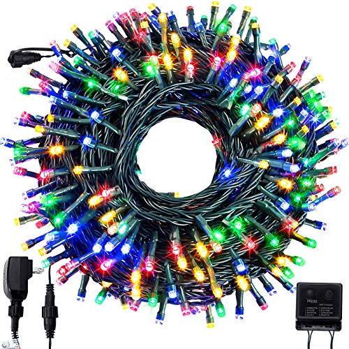 FORSPARK Outdoor Christmas String Lights, LED Christmas Tree Fairy Twinkle Lights Decorative for Indoor and Outside Halloween Garden Patio Wedding Party Holiday, 105Ft 300 LED, Multicolor