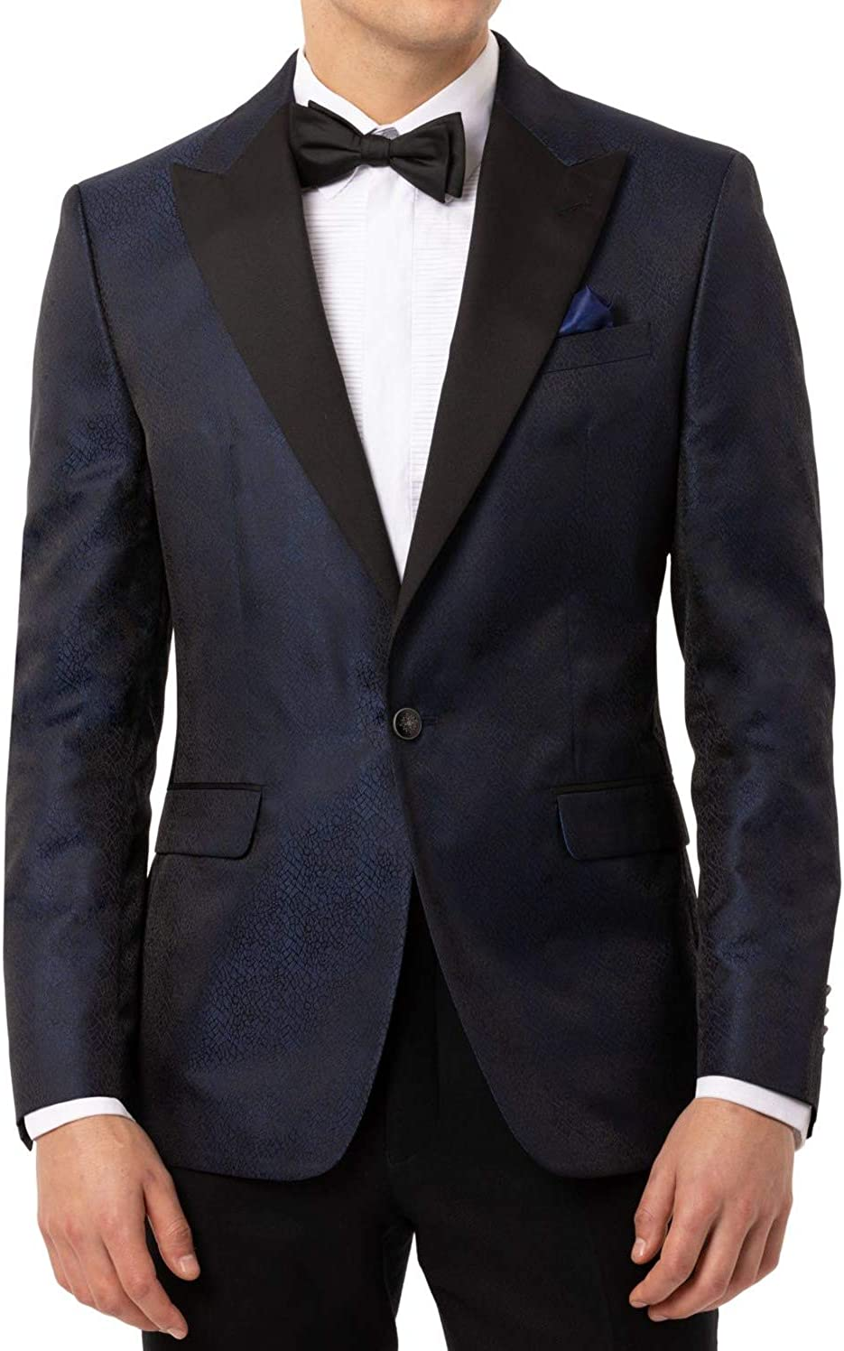 Tallia Mens Blazer R Jacquard Peak-Lapel Dinner Jacket Blue 42