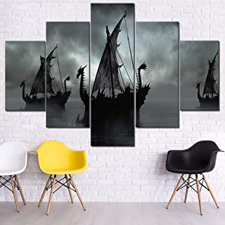 Wall Art for Living Room Black Boats on Misty Lake Paintings Fantasy Scenery Pictures Contemporary Artwork 5 Pieces Printed on Canvas Home Decor Giclee Framed Stretched Ready to Hang Gift(60''Wx40''H)