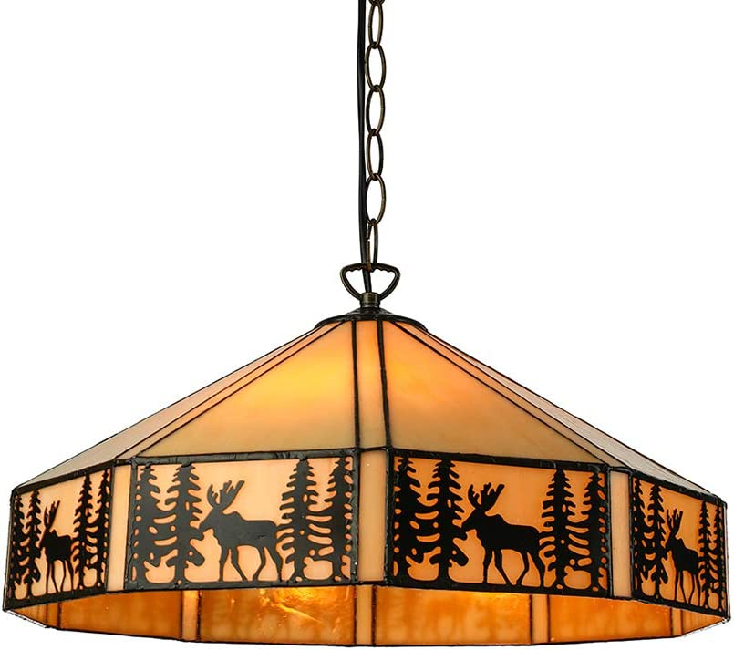LITFAD Rustic Style Hanging Pendant Lighting Max 51% Free Shipping New OFF Stained in Tiffany