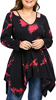 Women Plus Size V-Neck oose casual t-shirt Hollow Out Not Positioning Print Ruched Top Irregualr Tee
