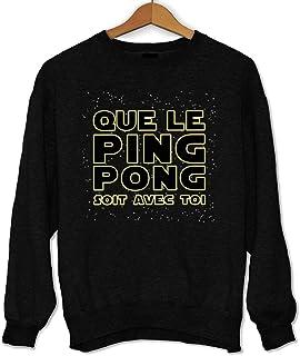 Sweat Shirt Sweater Pull I Love Ping-Pong pour Les Femmes et Les Enfants dans Les Couleurs Noir et Blanc et Bleu avec Surcharge