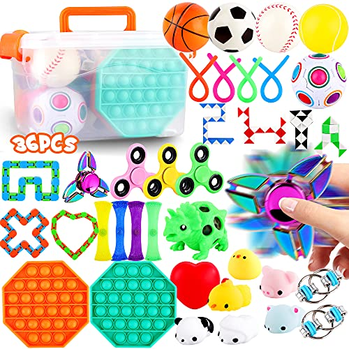 FiGoal 36 PCS Stress Relief Set Sensory Fidget Toys Set, Hand Toys for Adults Kids ADHD ADD Anxiety...