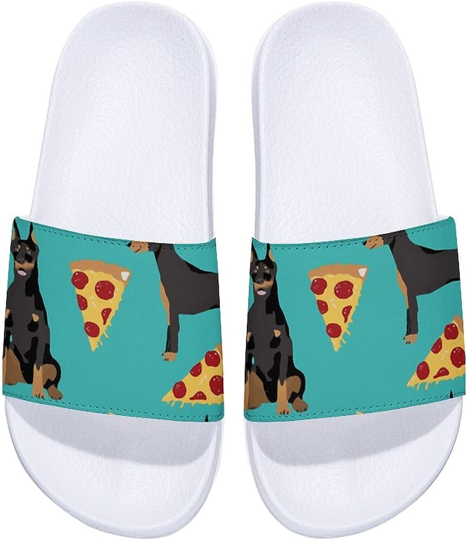 Doberman Pinscher Turquoise Pizza Men's Women's 70% unisex OFF Outlet and Slid Comfort
