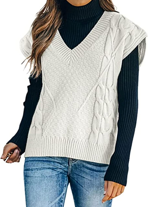 LING LANG Sweater Vest Women Knitted V Neck Oversized Sweaters Sleeveless Knitwear Tank Tops Women's Sweater Vests