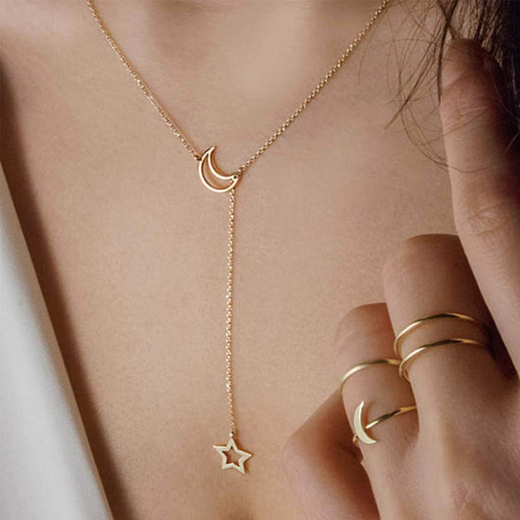 Larancie Boho Star and Moon Pendant Necklace Gold Fashion Y Necklace Chain Vintage Necklace Jewelry for Women and Girls