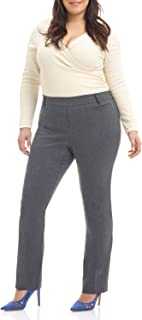 Rekucci Curvy Woman Ease in to Comfort Straight Leg Plus Size Pant w/Tummy Control
