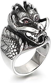 Nsitbbuery Hip Hop Stainless Steel Crystal Eye Animal Dragon Ring