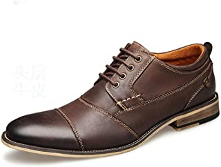Shoes, Dress Shoes, Men's Fashion Wedding Oxford Lace Sewn Leather Flat Round Bottom Help Low Slip Outer Rubber High Quality (Color : Coffee, Size : 50 EU)