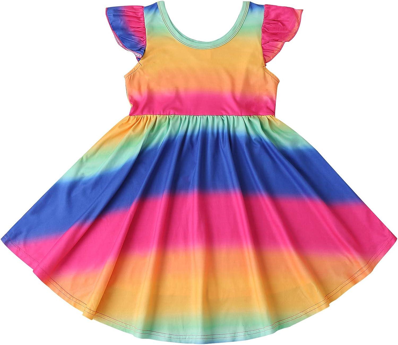 Popular standard Toddler Baby Girl Rainbow Long-awaited Dress Stri Sleeve Ruffle Dresses Twirl