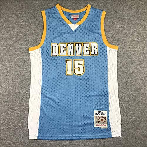 SHR-GCHAO Jersey De Baloncesto De Los Hombres, Retro NBA Denver Nuggets # 15 Nikola Jewic Jersey, Suave Y Transpirable, Absorber El Sudor con Cuello En V Camiseta Chalecos,Azul,XXL(185~190cm)