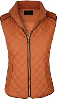 makeitmint Women's Basic Solid Quilted Padding Jacket Vest w/Pockets