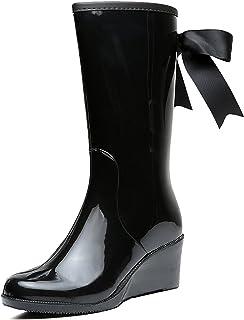 c168684d3c9 Odema Women s Wedge Knee High Mid Calf Rain Boots Bow-Tie Side Zipper  Waterproof