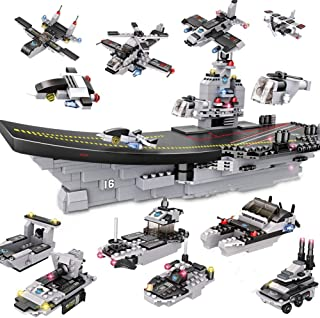 OUTFANDIA Coast Guard Aircraft Carrier Building Block Set, Patrol Warship Toy, Ship Model Building Sets with Heavy Tanks & Armed Helicopter for Boys and Girls 6-12