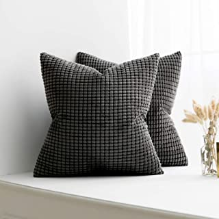 MIULEE Pack of 2 Decorative Throw Pillow Covers Soft Corduroy Solid Cushion Case Grey Pillow Cases for Couch Sofa Bedroom Car 20 x 20 Inch 50 x 50 cm