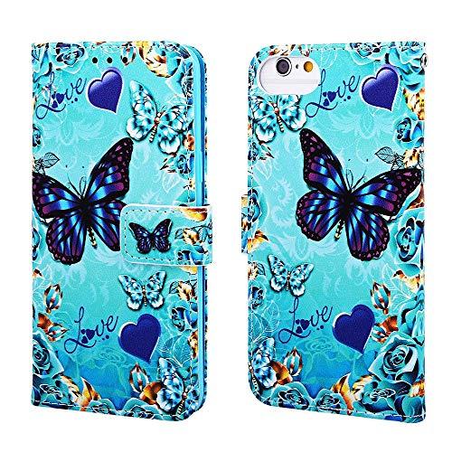 Nadoli Leder Hülle für iPhone SE 2020,Bunt Blau Grün Schmetterling Malerei Ultra Dünne Magnetverschluss Standfunktion Handyhülle Tasche Brieftasche Etui Schutzhülle