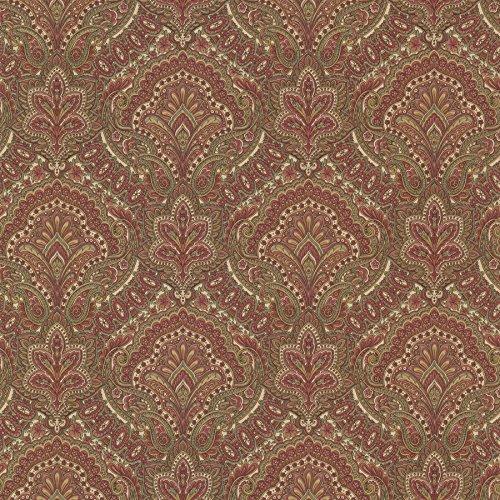 Beacon House 2604-21218 Cypress Paisley Damask Wallpaper, Burgundy