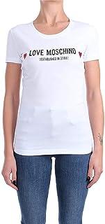 Love Moschino Stretch Cotton Jersey T-Shirt_Metallic Effect Hearts, Bianco, 50 Donna