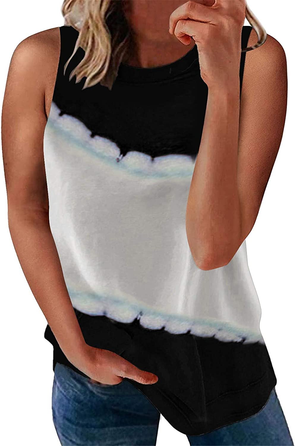AODONG Tank Tops for Women, Womens Casual Summer Sleeveless Loose Fit Graphic Blouses Tops Tank Shirts Tunics Vest