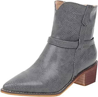 Kauneus Womens Plus Size Ankle Boot Pointed Toe Chunky Low Heel Leather Mid Calf Boots Casual Roman Boots