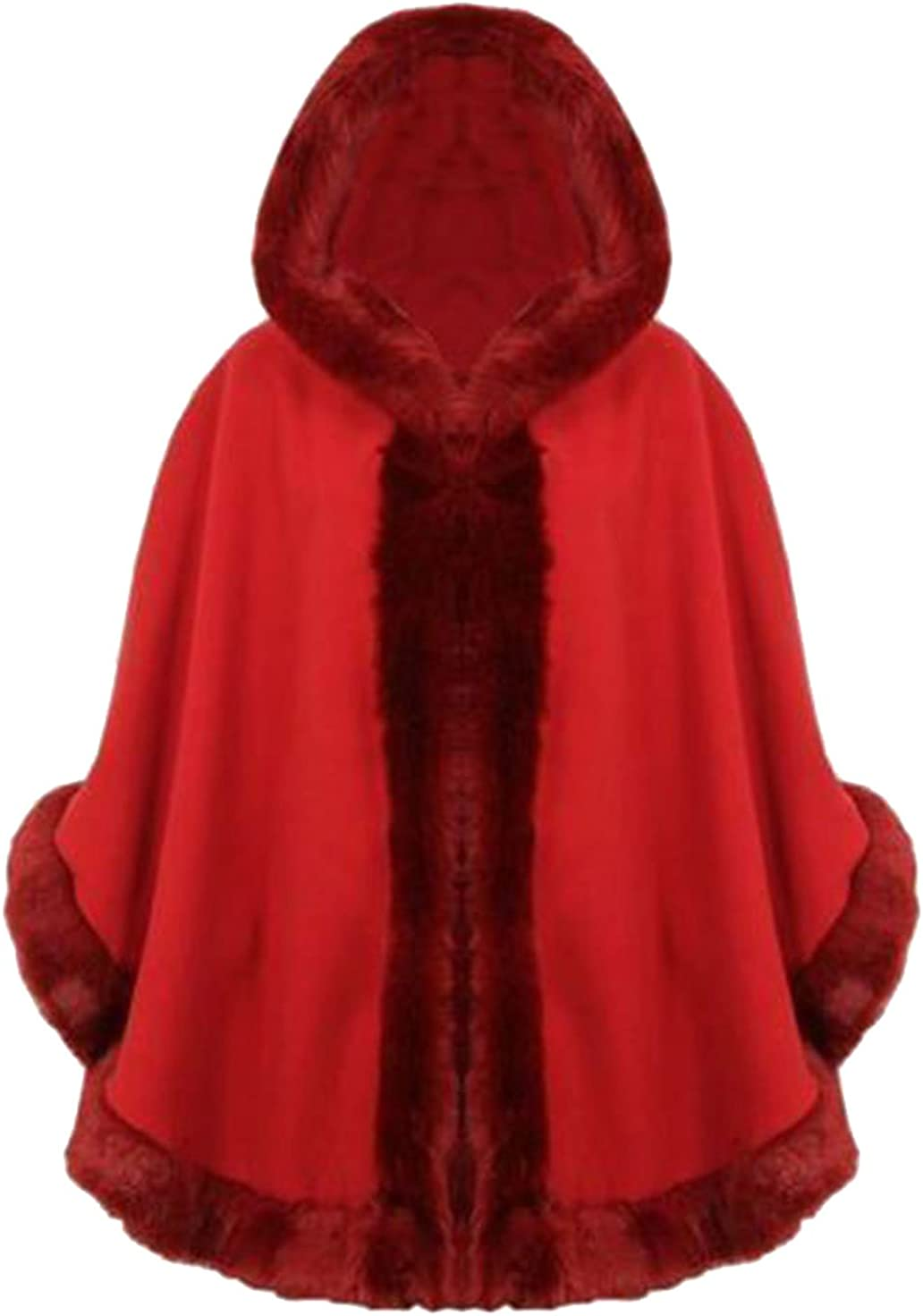 Divadames Womens Fur Lined Hooded Cape Ladies Winter Overall Coat Poncho Jacket One Size Fits UK 8-14
