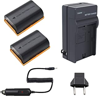 LP-E6 Battery Bonadget 2600mah LP-E6N Replacement Battery and Charger Compatible with Canon EOS 80D, 6D, 7D, 70D, 60D, 5D Mark III, 5D Mark II, BG-E14, BG-E11, BG-E9, BG-E79(2 Pack)