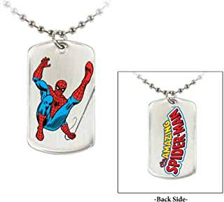 "Jewel M Spider-Man ""Swinging"" Double-Sided Dog Tag"
