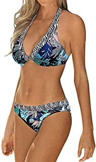 WUAI Women's Sexy Triangle Bikini Set Vintage Floral Printed Strappy Halter High Waist Swimsuits Two Piece Bathing Suit