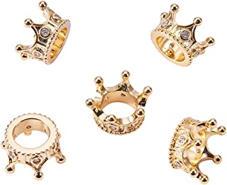 NBEADS 10 Pcs Cubic Zirconia Crown Beads, 24K Gold Plated Brass Micro Pave King Crown Spacer Beads Bracelet Connector Charm Beads for DIY Jewelry Making Crafts Design