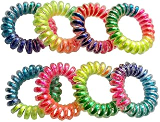 RevoRosy Spiral Hair Ties with No Crease  Coil Hair Elastics for Girls Age 6+   Colorful Hair Rubber Bands  Ouchless Hair Rings   Premium Set of 8 'Rainbow' collection