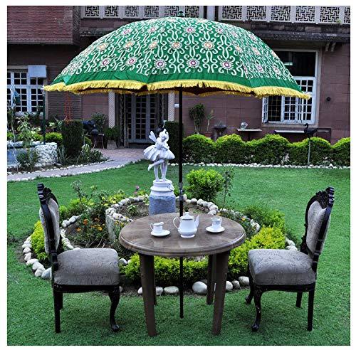 Marusthali Indische Handstickerei-Blumen-Entwurfs-im Freiengarten-Regenschirm-Patio-Baumwollsonnen-große Sonnenschirm-Pailletten bearbeiten grünen Regenschirm